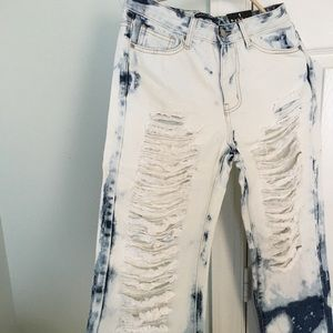 Bleached Blue ripped jeans